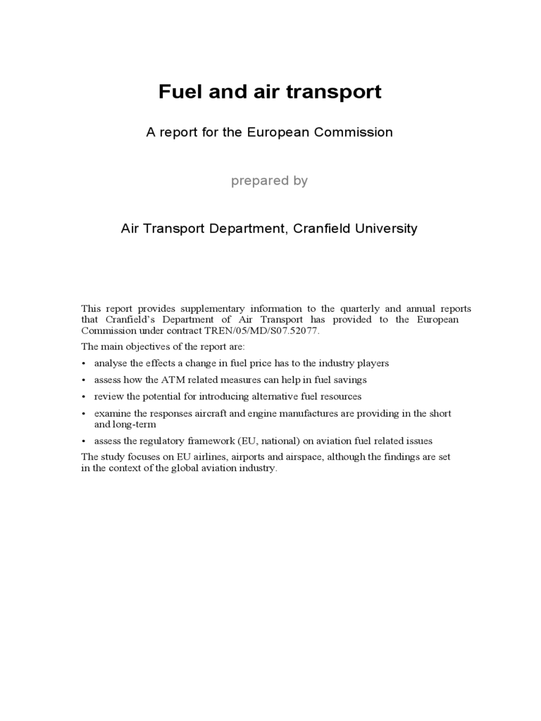 Report on fuel and air transport