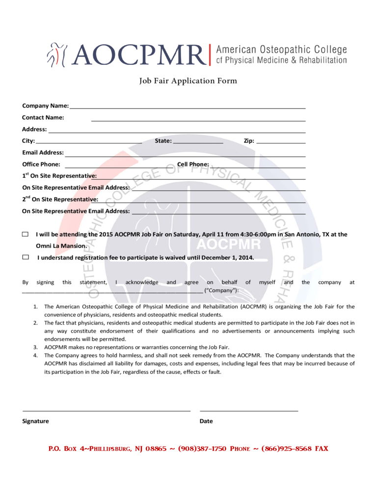 Job Fair Application Form - American Osteopathic College