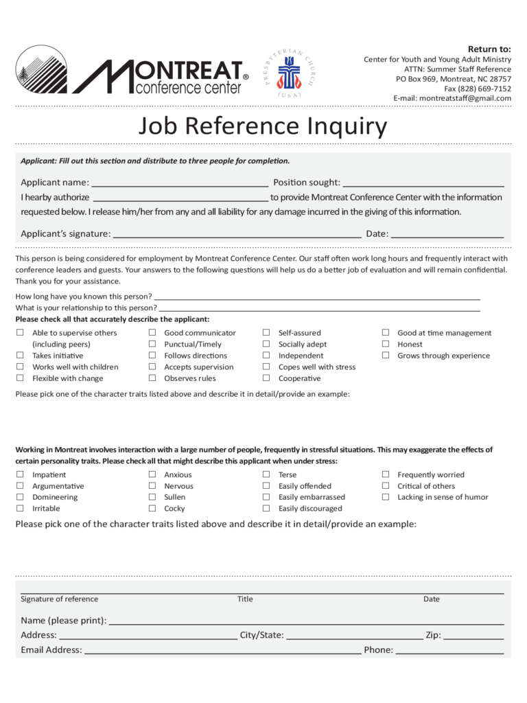 Job Reference Template - Montreat Free Download