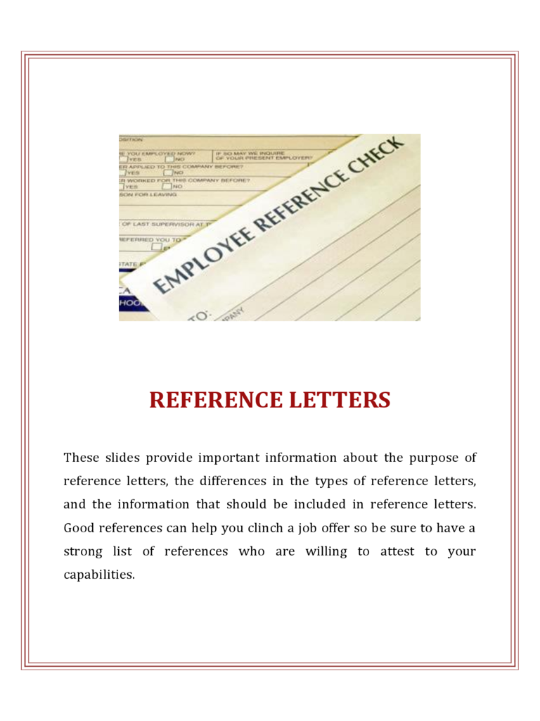 Reference Letters  Job Reference Template