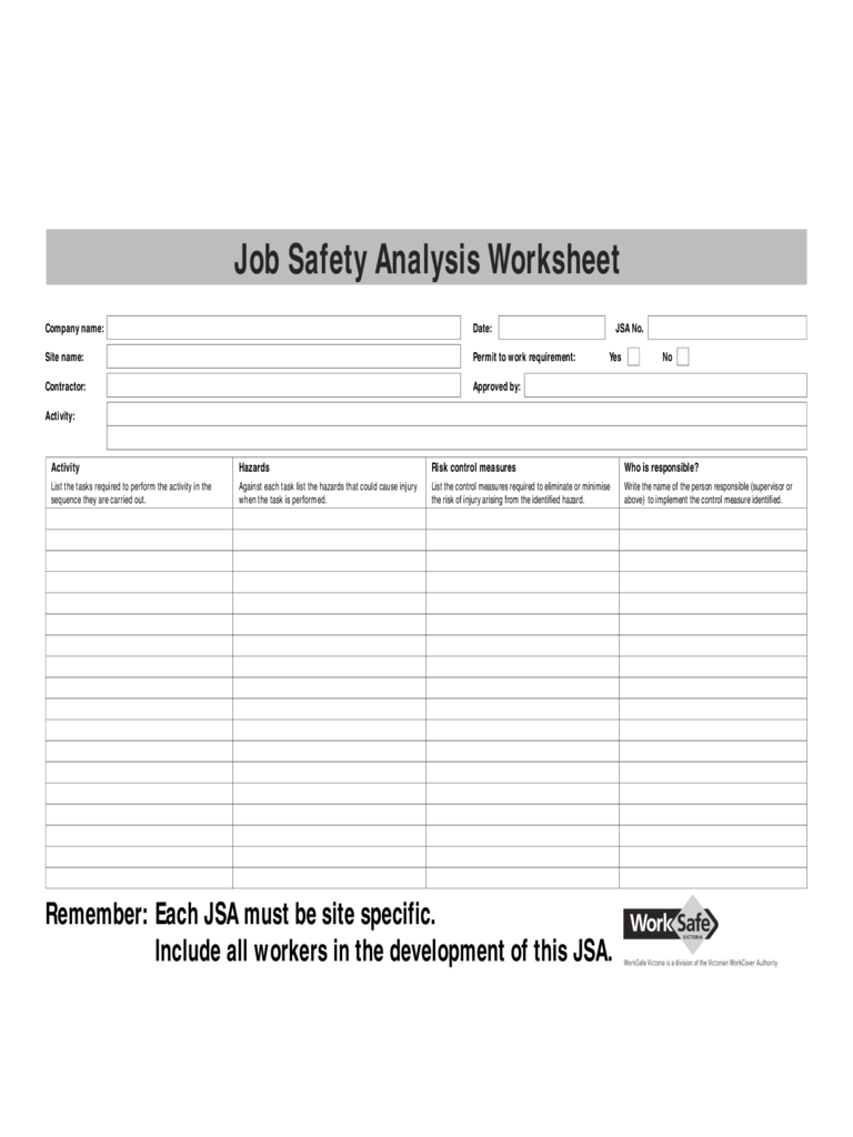 Job Safety Analysis Template Free Resume Templates – Job Hazard Analysis Worksheet