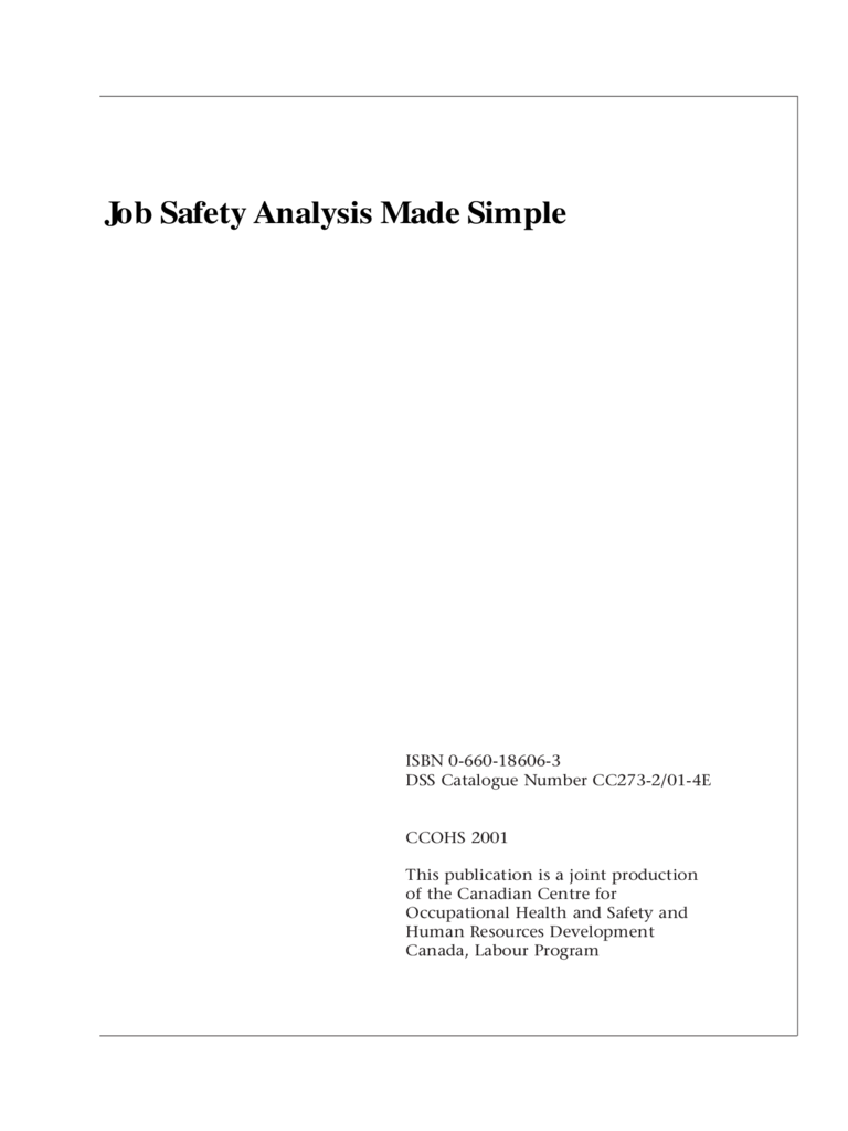 Job Safety Analysis Template  Job Safety Analysis Template