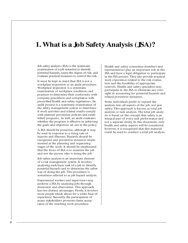 Job Safety Analysis Made Simple Free Download – Job Safety Analysis Template Free