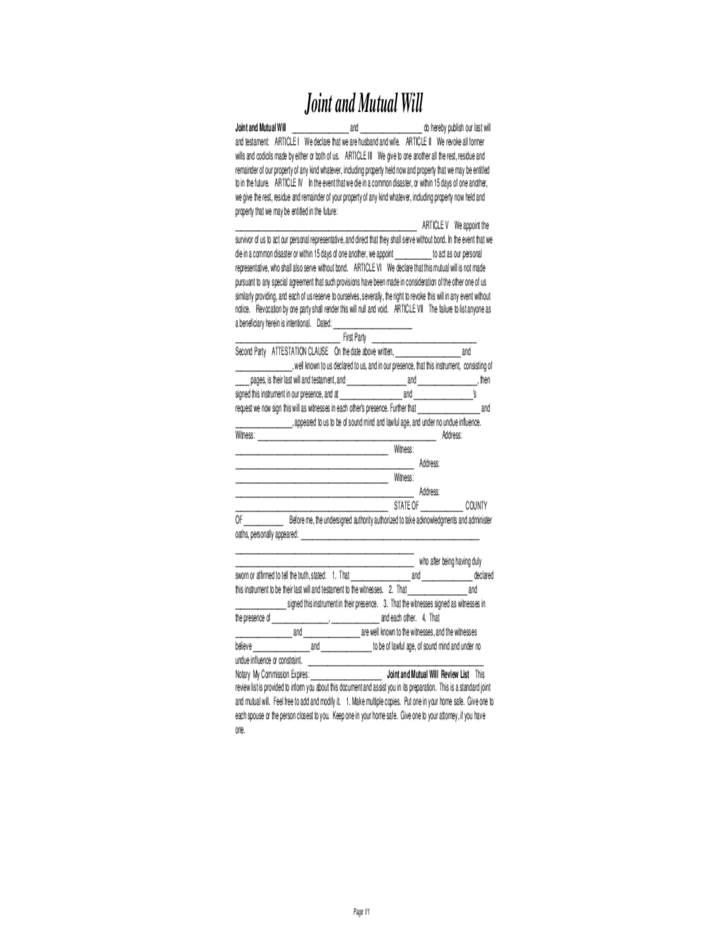 Joint and mutual will sample form free download for Joint will and testament template