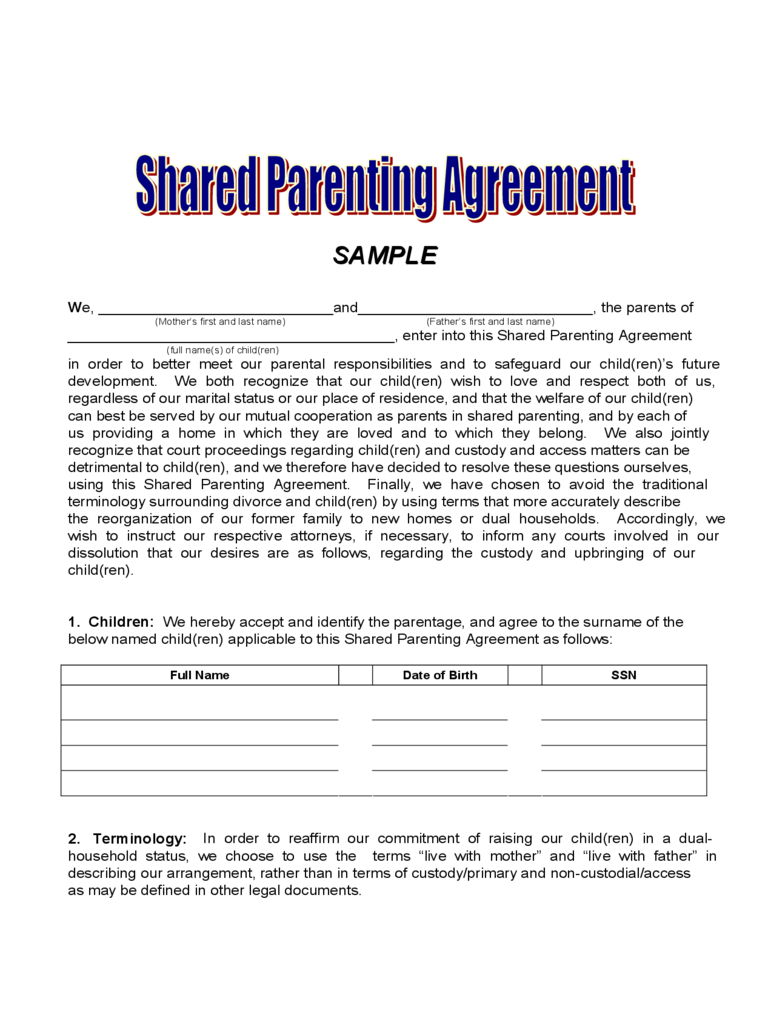 joint custody agreement form
