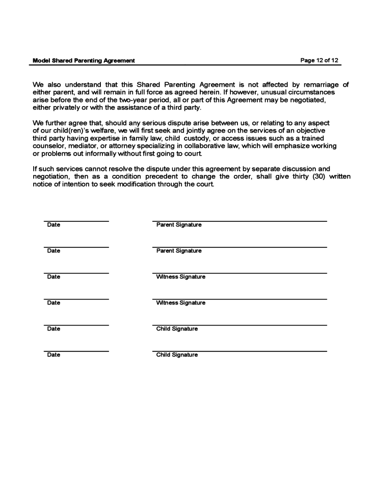 Shared Parenting Agreement Gallery Agreement Letter Format