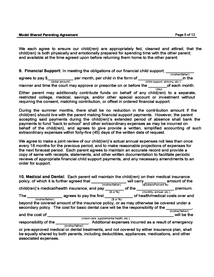 Shared Parenting Agreement Free Download