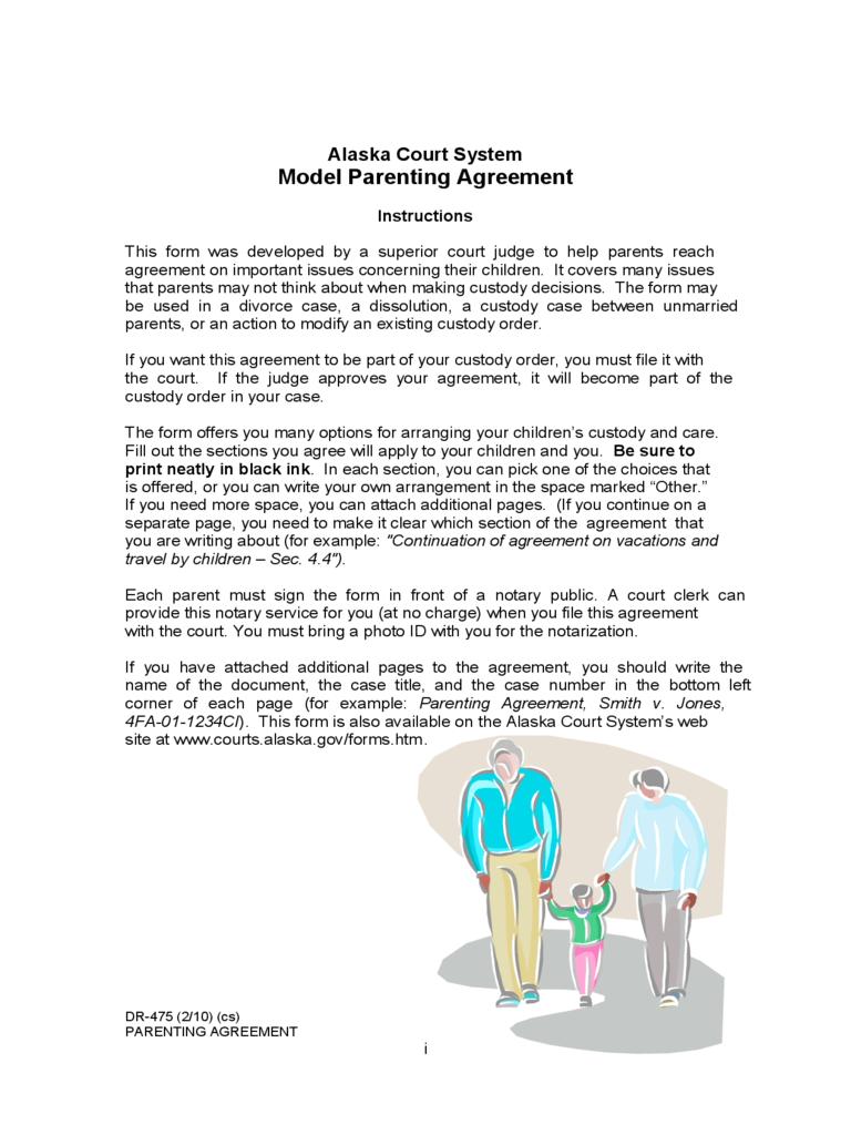 Model Parenting Agreement - Alaska