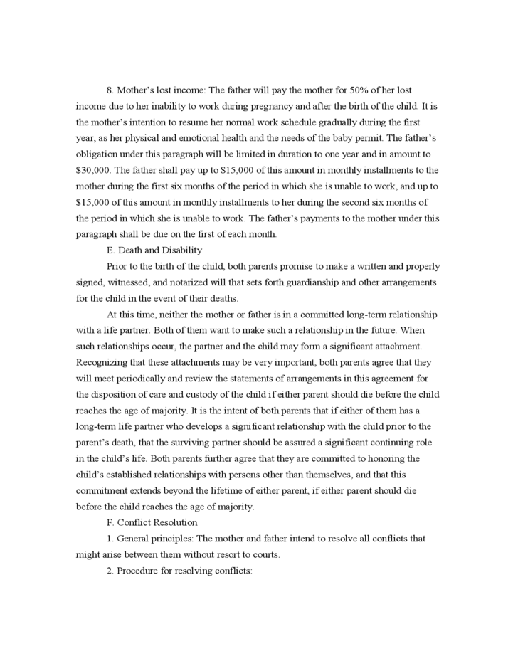 Sample Parenting Agreement Between Mother And Father Who