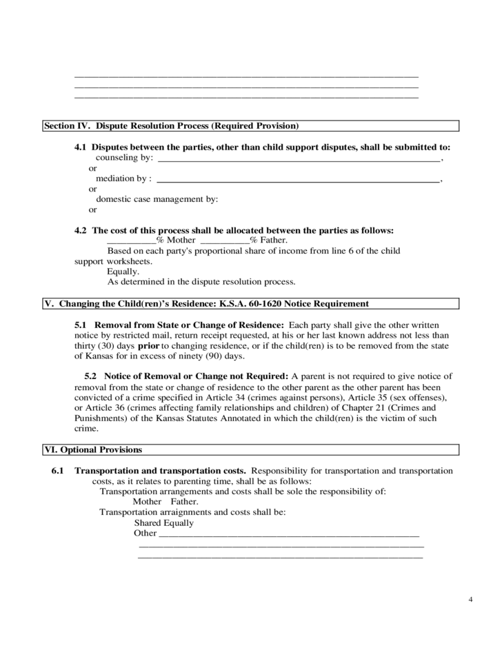 Sample Parenting Plan Form Free Download