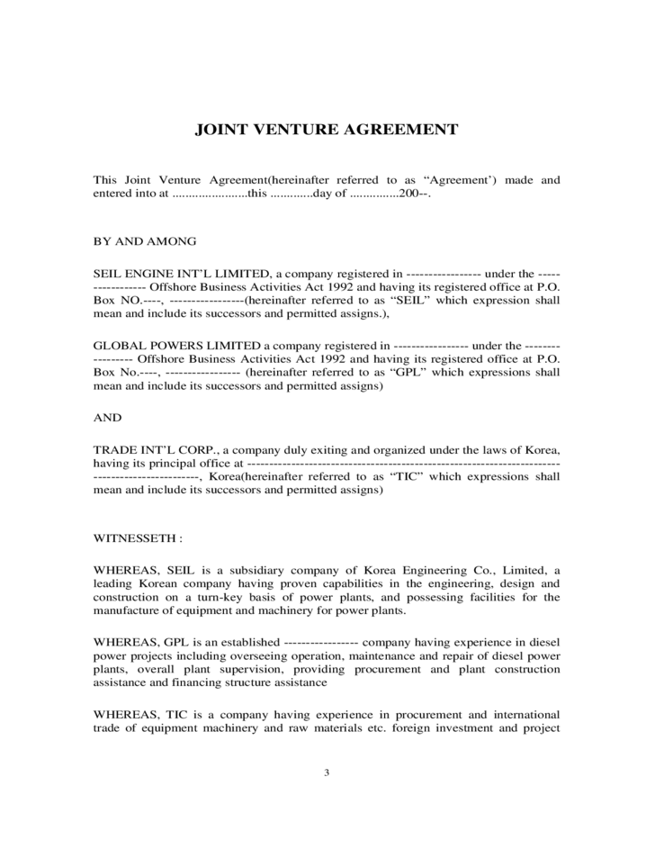Joint Venture Agreement Free Download
