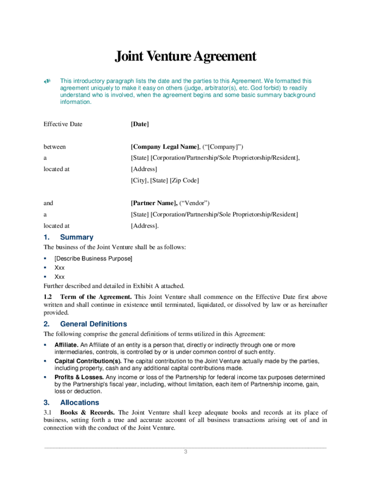 Joint venture agreement sample construction joint venture for Jv agreement template free