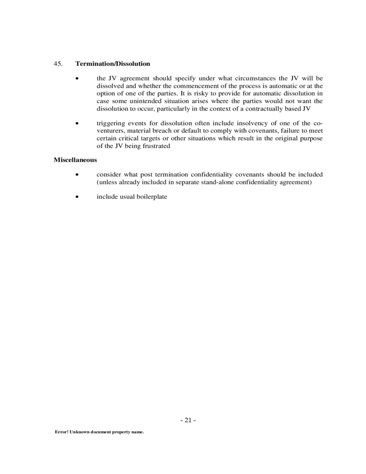 Model Joint Venture Agreement Checklist Free Download