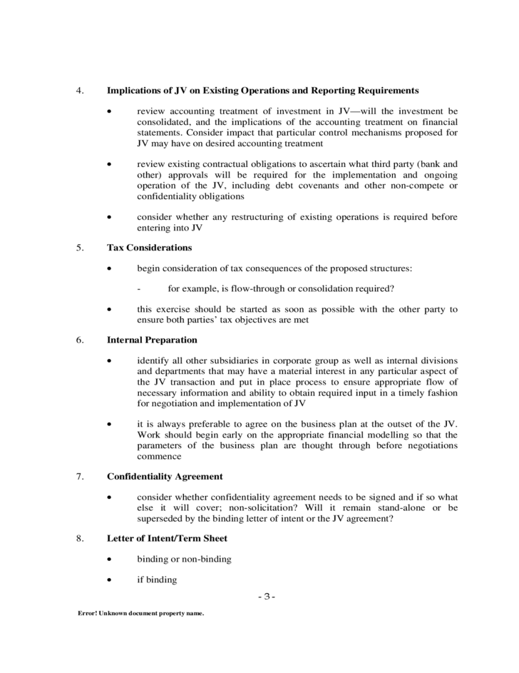 jv agreement template free - model joint venture agreement checklist free download