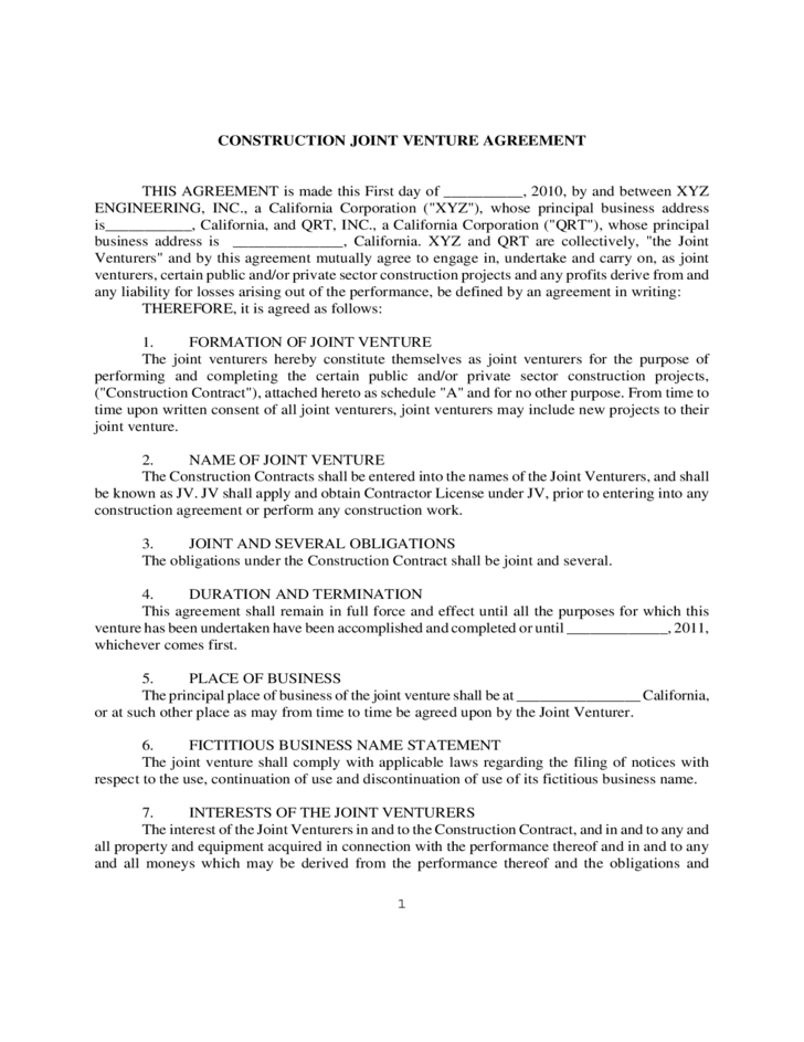 1 Construction Joint Venture Agreement Form  Joint Venture Agreements Sample