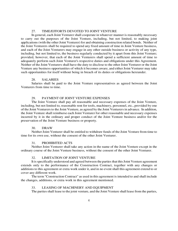Construction Joint Venture Agreement Form Free Download – Joint Venture Agreement Doc