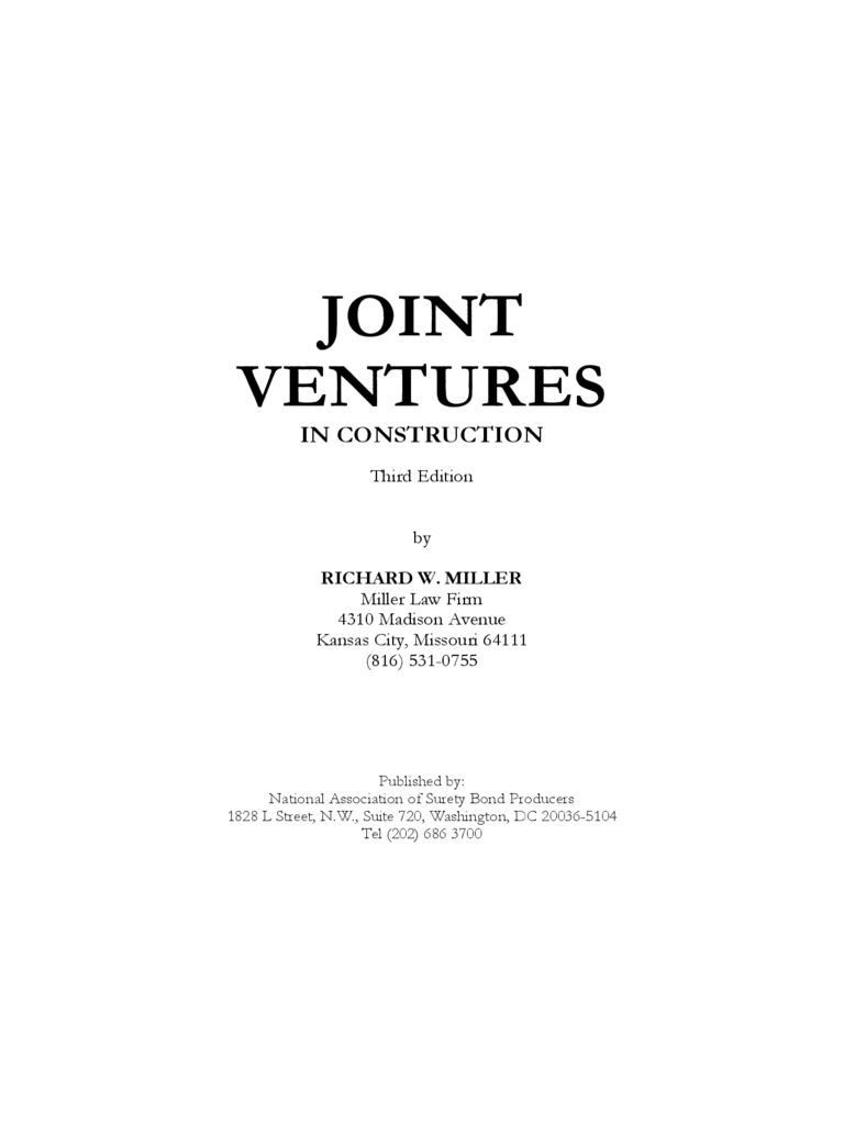 Joint Ventures in Construction Form