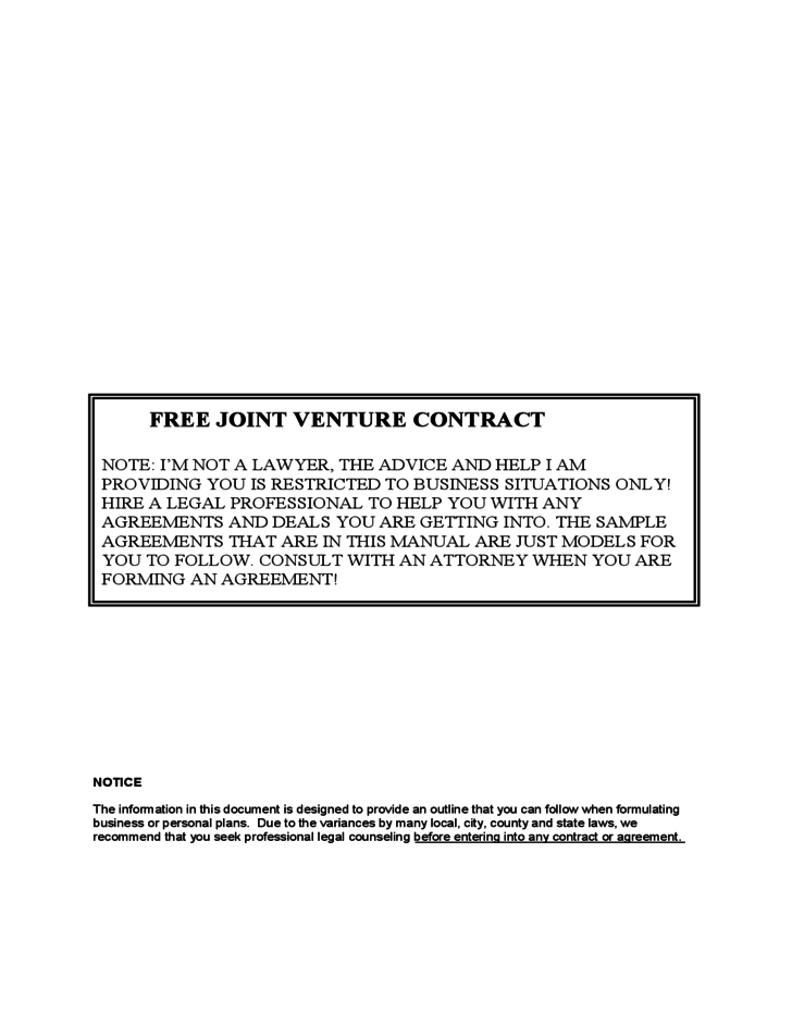 Joint Venture Contract Free Download – Joint Venture Contract Template Free