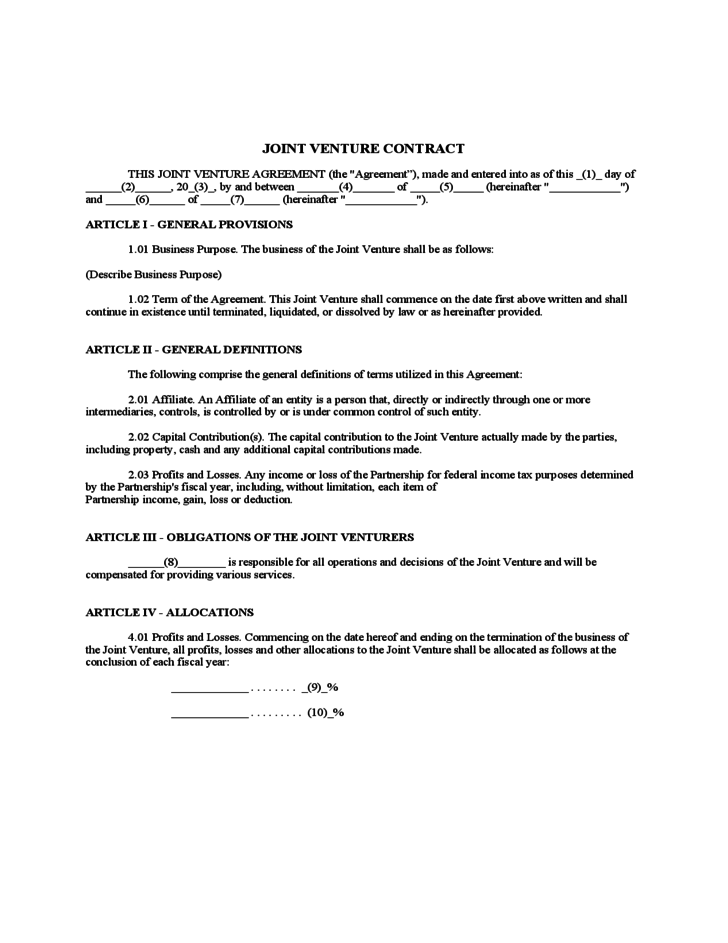 Joint Venture Contract Free Download