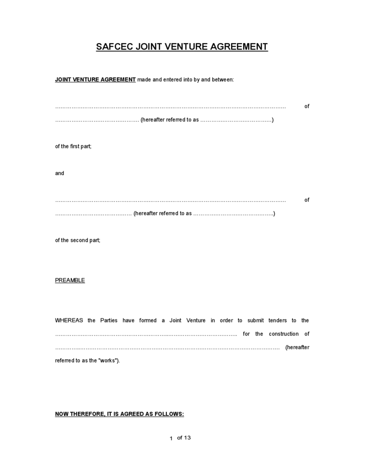 Doc.#821525: Joint Venture Contract Template Free – Joint Venture