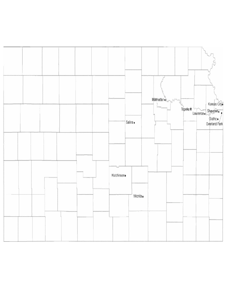 Map of Kansas Cities with City Names