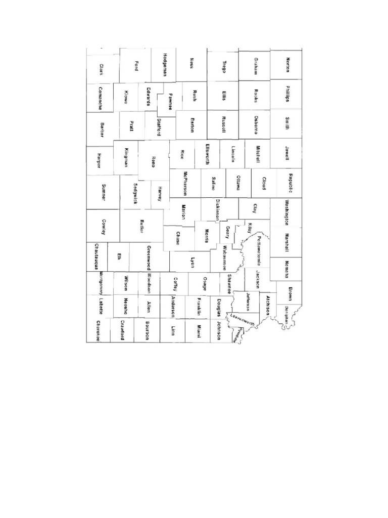 Kansas County Map with County Names