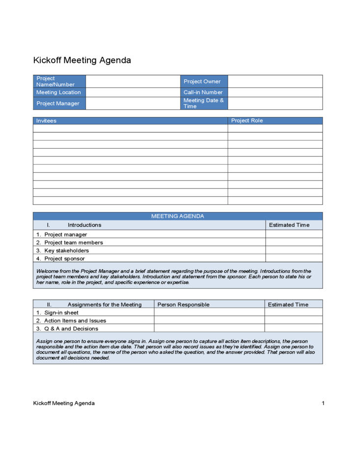 kick off meeting agenda free download