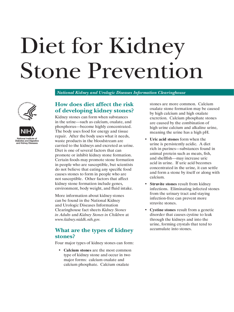 Kidney Stone Diet Chart 4 Free Templates In Pdf Word