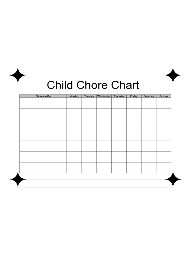 Child Chore Chart Template  Chore Chart Template Word