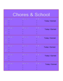School Chore Chart for Kids Free Download