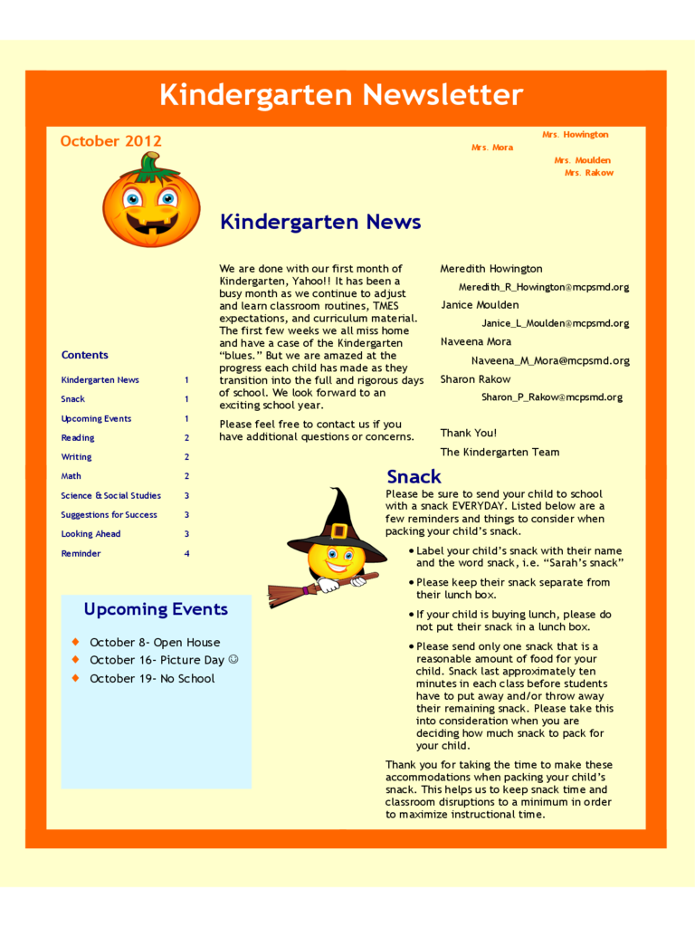 kindergarten newsletter template 5 free templates in pdf word
