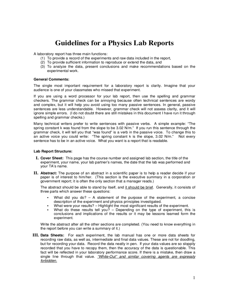 Examples of lab report