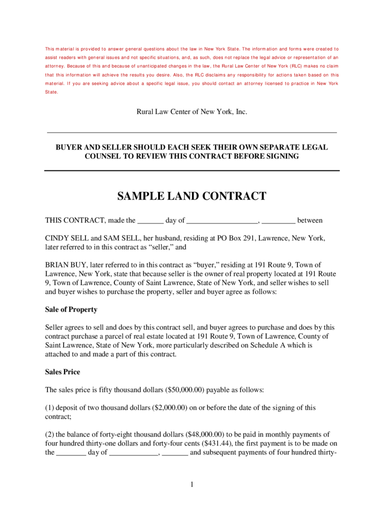 Land contract form 5 free templates in pdf word excel for Contract for sale of land template