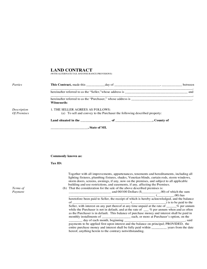 Land Contract Form - Michigan Free Download