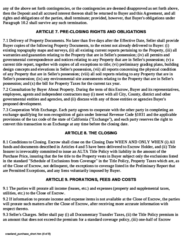 raw land purchase agreement free download