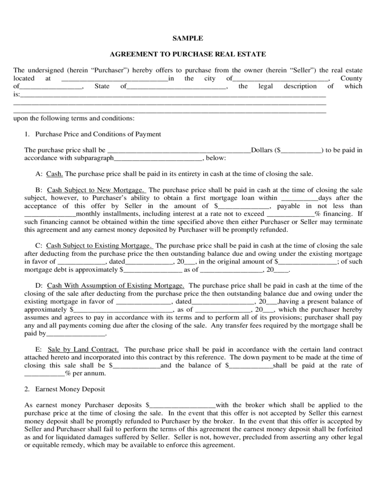 land contract agreement – Land Purchase Agreement