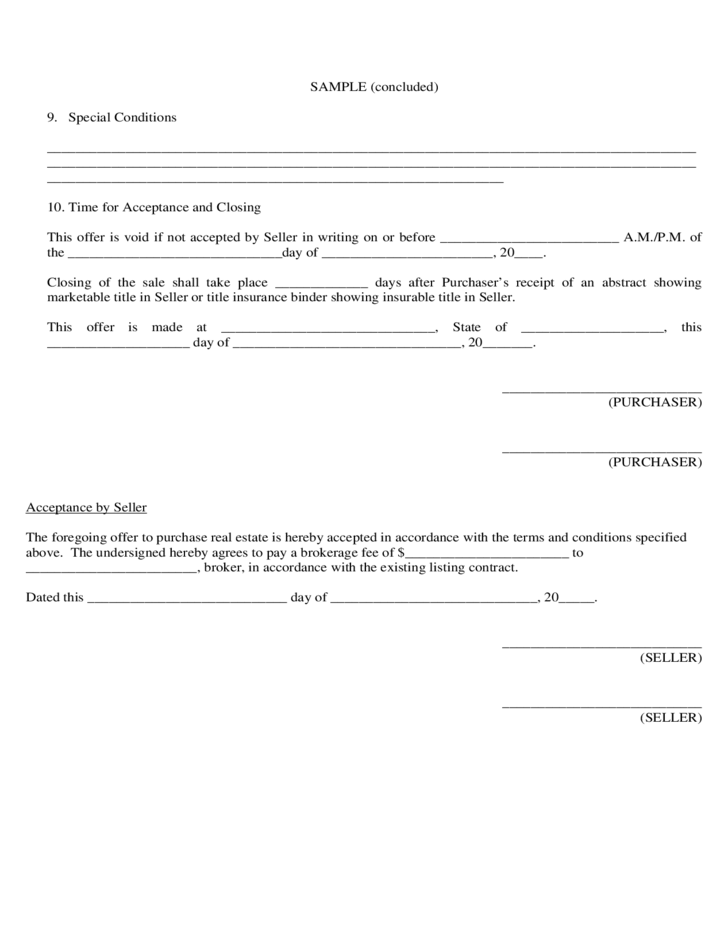 Sample Agreement to Purchase Real Estate
