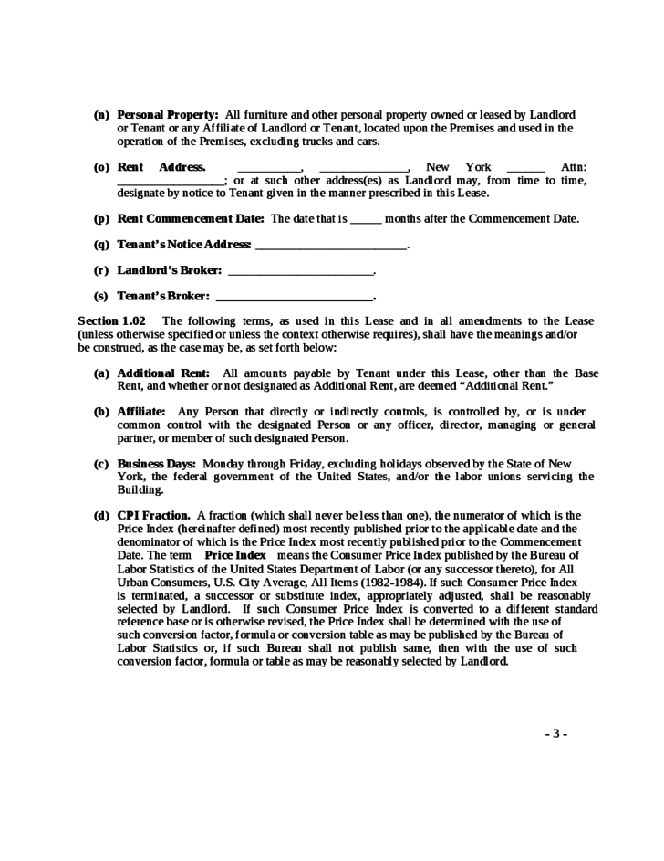 Land Rental and Lease Form - New York Free Download