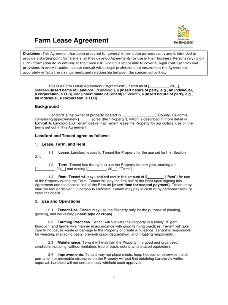 land lease agreement form free – Land Rental and Lease Form