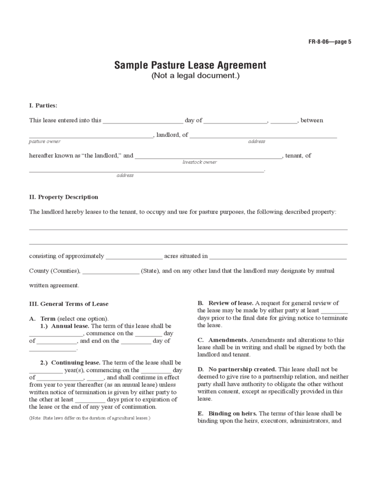 Farm land lease agreement sample for Farm rental agreement template