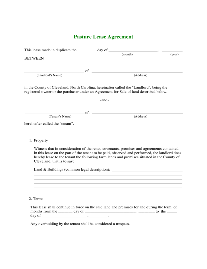 farm rental agreement template - farmland rental and lease form free download