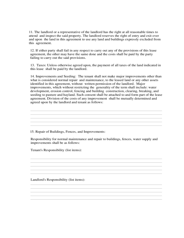 Farmland Rental and Lease Form Free Download – Land Rental and Lease Form