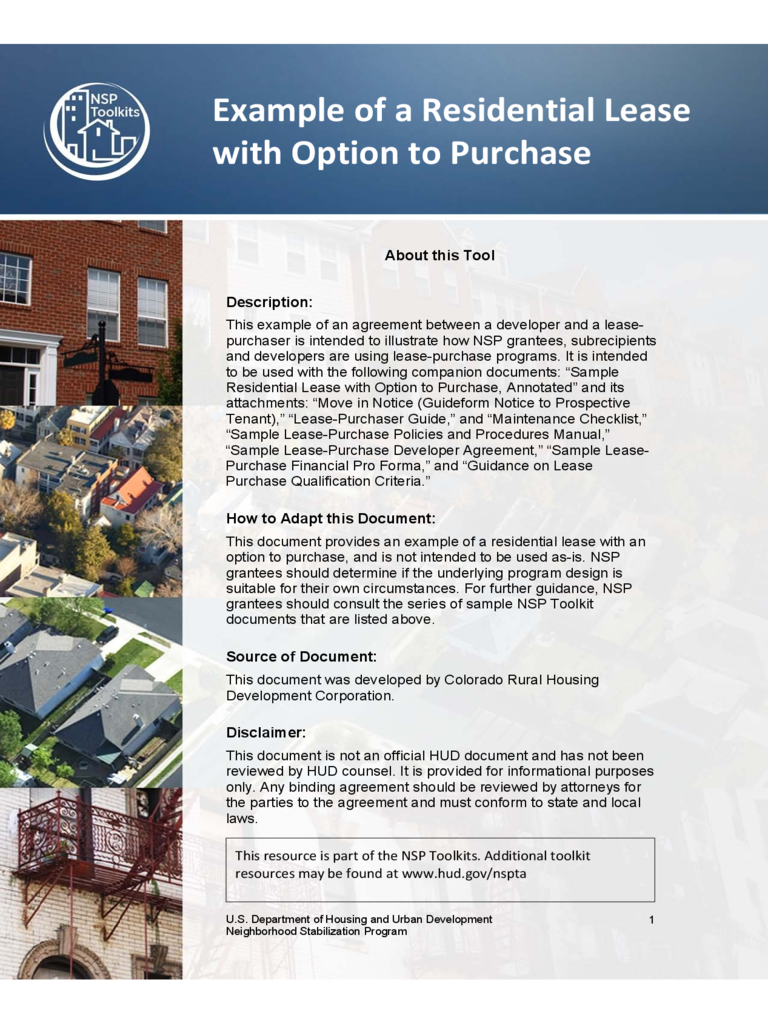 Lease Agreement With Option to Purchase