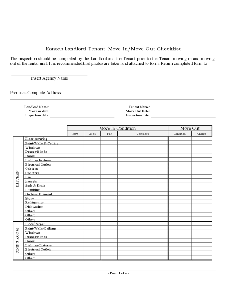Landlord Inspection Checklist Template   Free Templates In Pdf