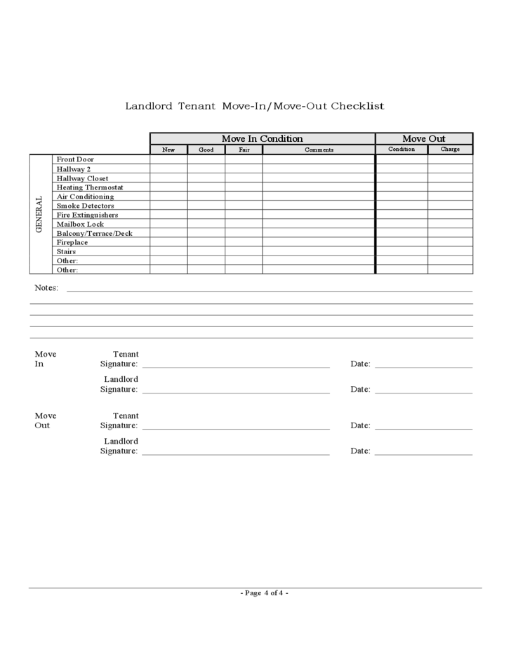 move out checklist template