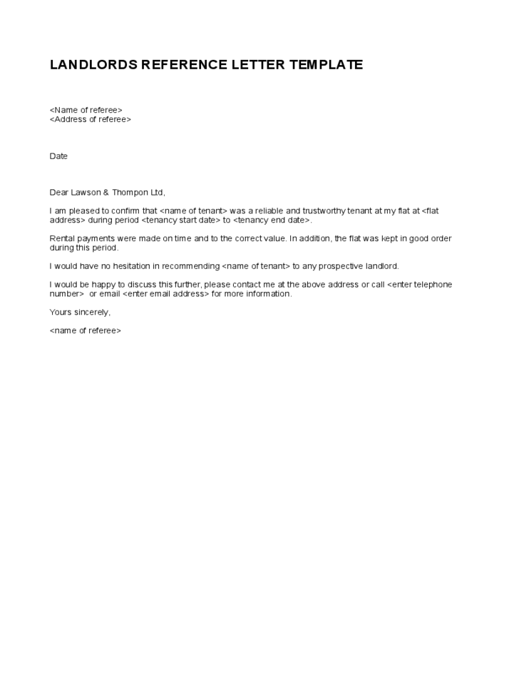 simple landlord reference letter template free download