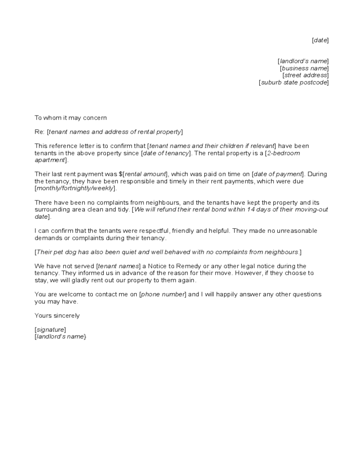 Reference letter to tenant from landlord free download for Landlord end of tenancy letter template