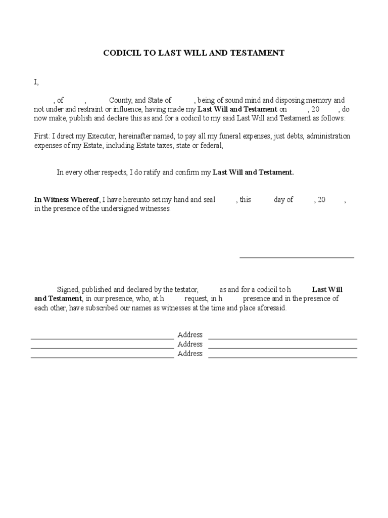 Will And Trust Forms