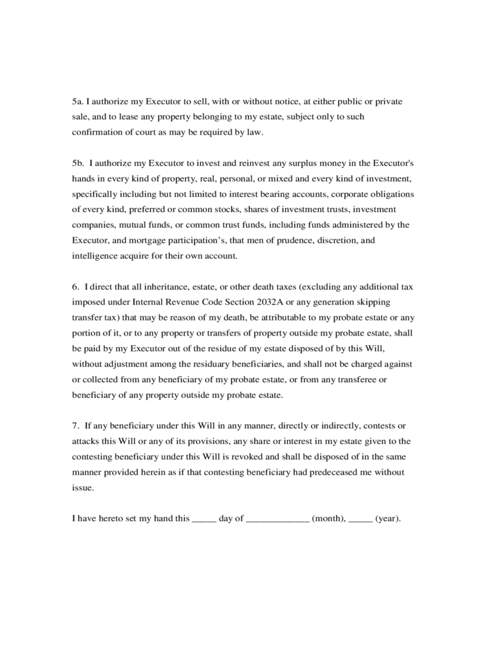 last will and testament template free download
