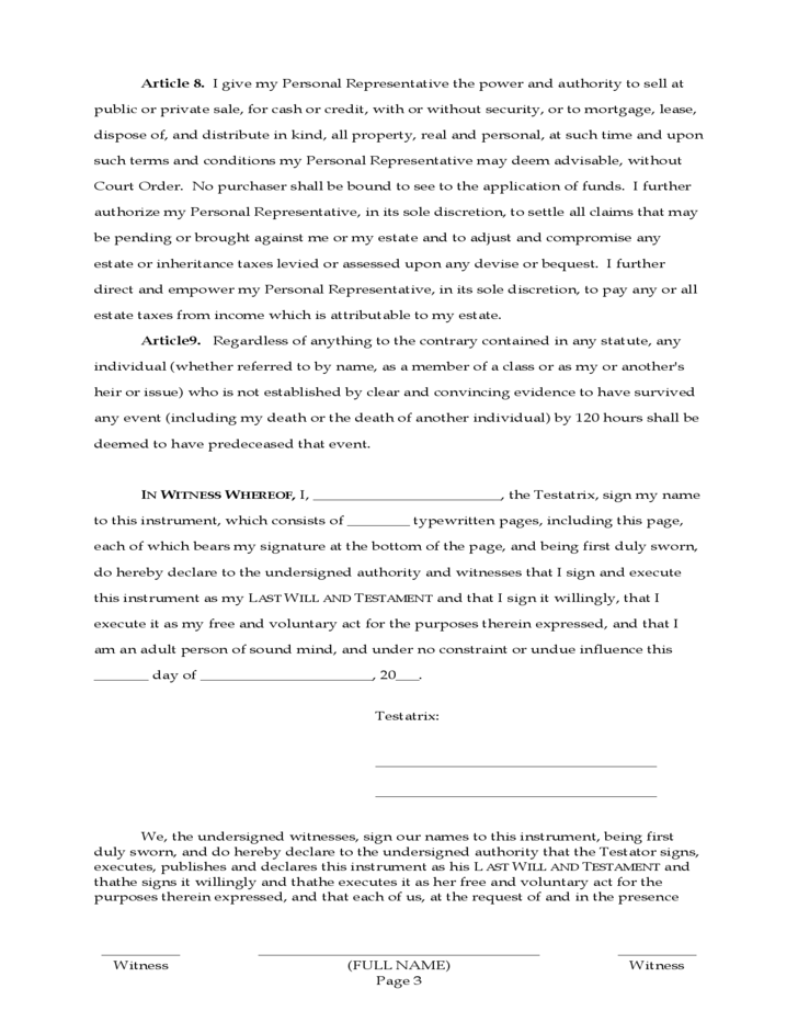 Last will and testament form wyoming free download for Illinois last will and testament form